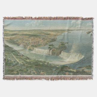 Mapa ilustrado del vintage de Niagara Falls NY Manta