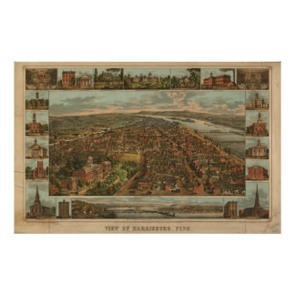 Mapa ilustrado del vintage de PA de Harrisburg (18 Posters