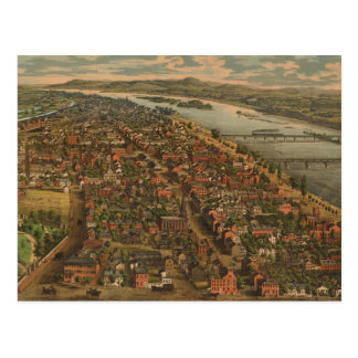 Mapa ilustrado del vintage de PA de Harrisburg (18 Postal