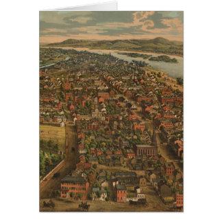 Mapa ilustrado del vintage de PA de Harrisburg (18 Tarjeta De Felicitación