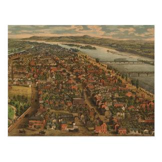 Mapa ilustrado del vintage de PA de Harrisburg 18 Postal