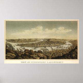 Mapa ilustrado del vintage de PA de Pittsburgh Póster