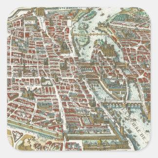 Mapa ilustrado del vintage de París 1615 Colcomanias Cuadradases