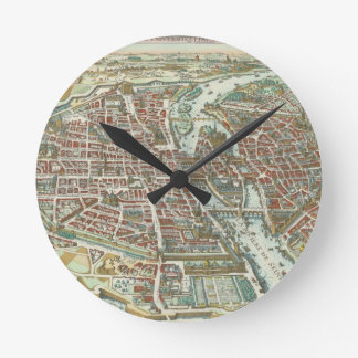Mapa ilustrado del vintage de París (1615) Reloj