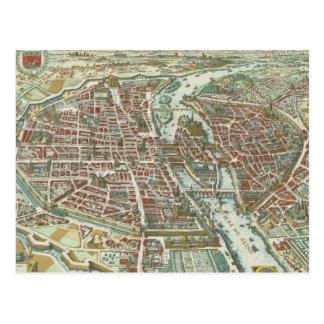 Mapa ilustrado del vintage de París (1615) Postales