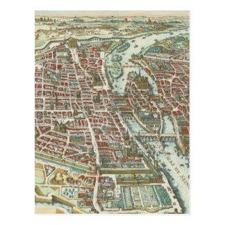 Mapa ilustrado del vintage de París (1615) Tarjetas Postales