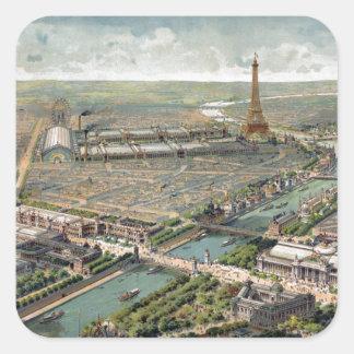 Mapa ilustrado del vintage de París 1900 Colcomanias Cuadradas Personalizadas