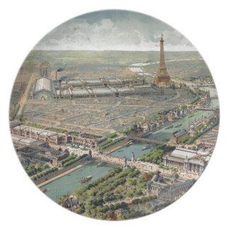 Mapa ilustrado del vintage de París (1900) Plato De Comida