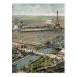Mapa ilustrado del vintage de París (1900) Postal