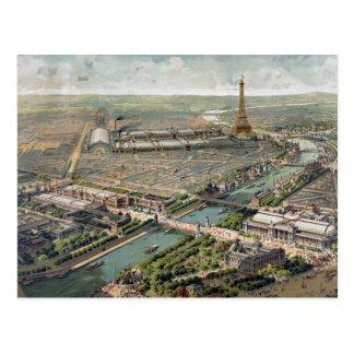 Mapa ilustrado del vintage de París (1900) Tarjetas Postales
