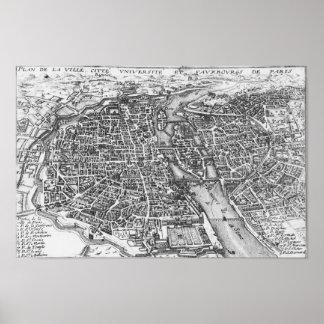 Mapa ilustrado del vintage de París (siglo XVII) Impresiones