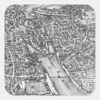 Mapa ilustrado del vintage de París siglo XVII Calcomanias Cuadradas