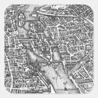 Mapa ilustrado del vintage de París siglo XVII Calcomanías Cuadradass