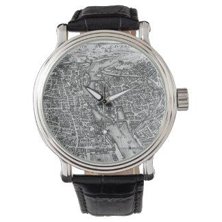 Mapa ilustrado del vintage de París (siglo XVII) Relojes