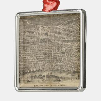 Mapa ilustrado del vintage de Philadelphia (1872) Adorno Cuadrado Plateado