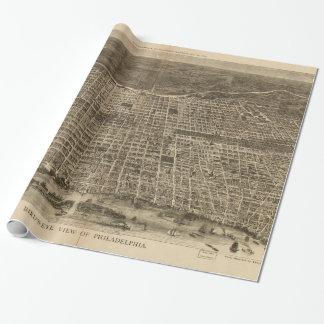 Mapa ilustrado del vintage de Philadelphia (1872) Papel De Regalo