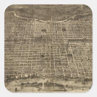 Mapa ilustrado del vintage de Philadelphia (1872) Pegatina Cuadrada