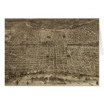 Mapa ilustrado del vintage de Philadelphia (1872) Felicitaciones