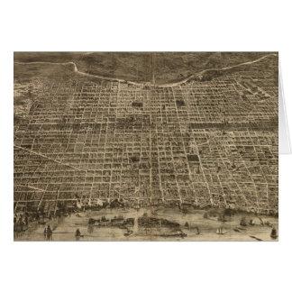 Mapa ilustrado del vintage de Philadelphia (1872) Tarjeta De Felicitación