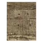 Mapa ilustrado del vintage de Philadelphia (1872) Postales