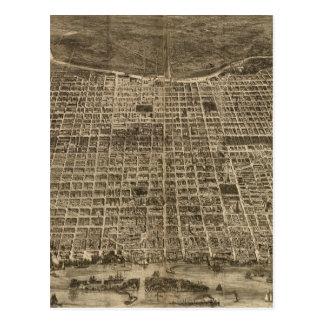Mapa ilustrado del vintage de Philadelphia (1872) Tarjeta Postal