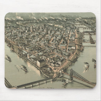 Mapa ilustrado del vintage de Pittsburgh (1902) Alfombrillas De Ratón