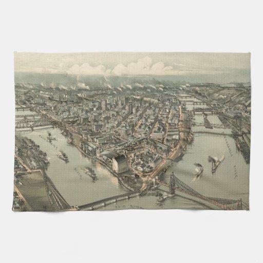 Mapa ilustrado del vintage de Pittsburgh (1902) Toalla
