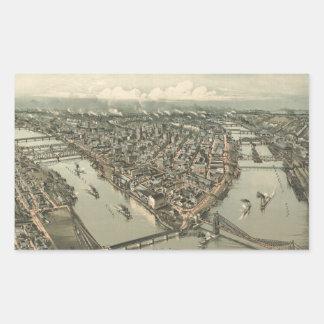 Mapa ilustrado del vintage de Pittsburgh (1902) Pegatina Rectangular