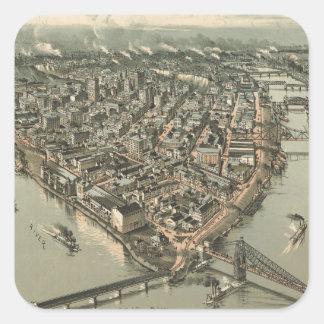 Mapa ilustrado del vintage de Pittsburgh (1902) Pegatina Cuadrada