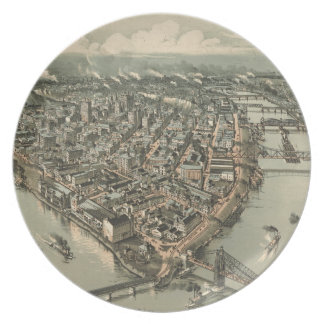 Mapa ilustrado del vintage de Pittsburgh (1902) Plato De Cena
