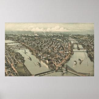 Mapa ilustrado del vintage de Pittsburgh (1902) Póster