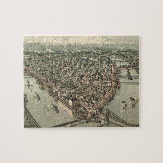 Mapa ilustrado del vintage de Pittsburgh (1902) Puzzles Con Fotos