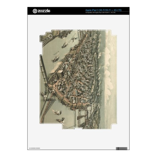 Mapa ilustrado del vintage de Pittsburgh (1902) iPad 3 Pegatina Skin