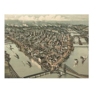 Mapa ilustrado del vintage de Pittsburgh (1902) Tarjetas Postales