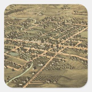 Mapa ilustrado del vintage de Pontiac Michigan Pegatina Cuadrada