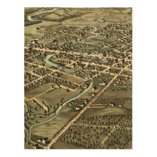 Mapa ilustrado del vintage de Pontiac Michigan Postal