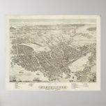 Mapa ilustrado del vintage de Portsmouth NH (1877) Posters