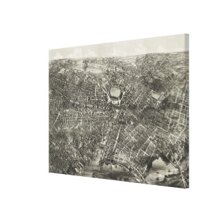 Mapa ilustrado del vintage de Providence RI (1882) Lona Envuelta Para Galerias