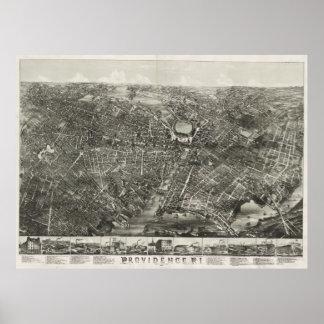Mapa ilustrado del vintage de Providence RI (1882) Posters