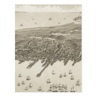 Mapa ilustrado del vintage de Provincetown (1882) Postales