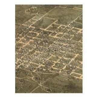 Mapa ilustrado del vintage de Raleigh NC (1872) Tarjeta Postal
