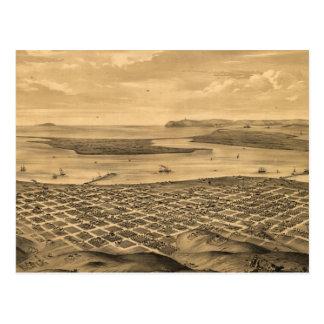 Mapa ilustrado del vintage de San Diego (1876) Tarjetas Postales