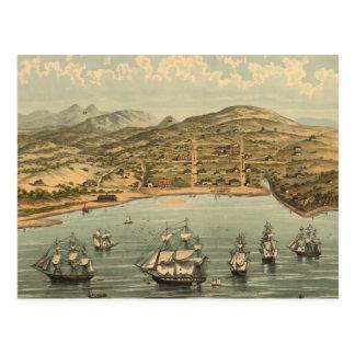 Mapa ilustrado del vintage de San Francisco (1884) Postal