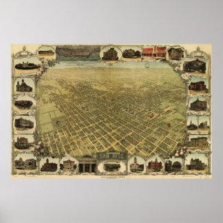Mapa ilustrado del vintage de San Jose CA (1901) Póster