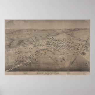 Mapa ilustrado del vintage de San Marcos Tejas Póster