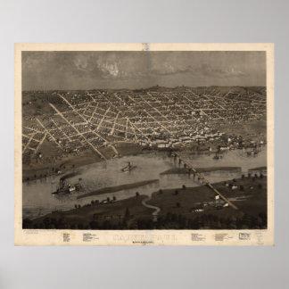 Mapa ilustrado del vintage de San Pablo Minnesota Póster