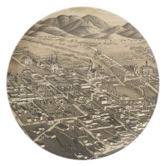 Mapa ilustrado del vintage de Santa Fe 1882 Plato De Comida