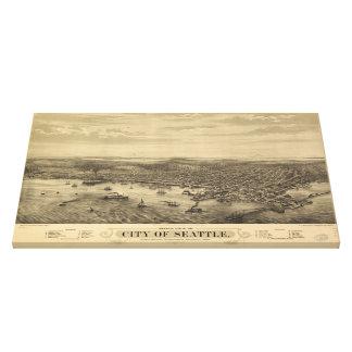Mapa ilustrado del vintage de Seattle (1878) Impresión En Lona