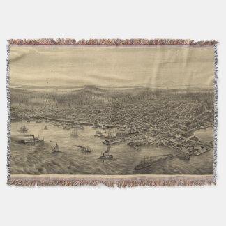 Mapa ilustrado del vintage de Seattle (1878) Manta
