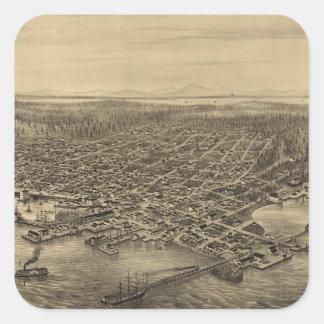 Mapa ilustrado del vintage de Seattle (1878) Pegatina Cuadrada